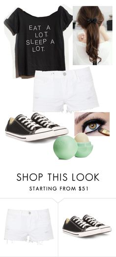 """Eat a lot sleep a lot"" by aleena1 ❤ liked on Polyvore featuring J Brand, Converse and Eos"