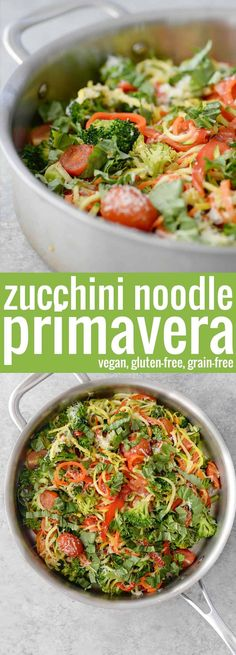 Zucchini Noodle Pasta Primavera! This vegan, gluten-free, grain-free dish is so delicious! If you want a healthy, vegetable filled dinner, you've gotta try this. #grainfree #vegan #zoodles #vegetarian #glutenfree #spiralizer #healthy