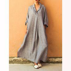 Paneled Cotton Basic Long Sleeve A-line Midi Dress