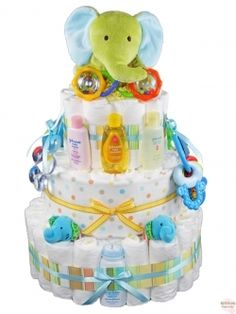 """You Will """"Never Forget"""" The Great Green Elephant Diaper Cake"""