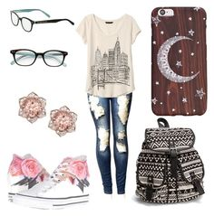 """""""Untitled #53"""" by maddyjohnson2003 on Polyvore featuring Banana Republic, Converse, NLY Accessories and Kate Spade"""