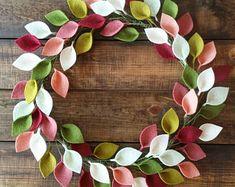 """Felt Leaf Wreath - Modern Spring Wreath - 16"""" Outside Diameter - Ready to Ship"""