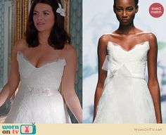 Happy Endings Fashion: Monique Lhuillier Wedding gown worn by Casey Wilson
