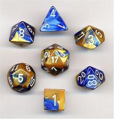 Polyhedral 7-Die Gemini Dice Set - Blue & Gold w/White (d4, d6, d8, d10, d12, d20 & d00) Chessex