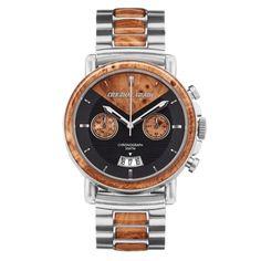 The Alterra Chronograph burl wood and steel Original Grain Watches