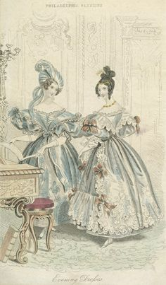 1834 July. Ladies Evening Dresses Godey's Lady's Book digitalgallery.nypl.org