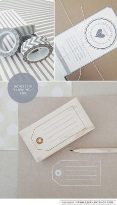 """Our maple wooden tag stamp and grey washi tape in our October """"I LOVE YOU"""" box."""