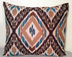 Handmade Pillow Cover  Aztec Brown and Teal by CalmBeforeDawn