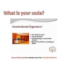 What is your code? Are you a Conventional Organizer? Source: slideshare and youtube #conventional #careerchoice #career #identity #destiny #purpose #awareness #knowledge #decision #understanding #motivation #planning #college #orderly #detailed #focused #structured #systematic #efficient #accountant #teller #inspector #technician  Learn more at bit.ly/29dVLhX