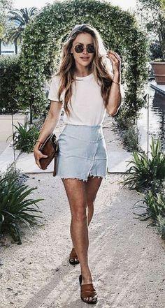 Trendy jean skirt.