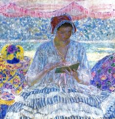 Summer Reading (1919). Frederick Frieseke (American, 1874-1939). Oil on canvas. Frieseke's high-keyed palette and the thick impasto of his short brushstrokes are masterfully executed in this work. Through deft handling of steady yet broken brushstrokes, Summer Reading becomes a brilliant visual display of color and light. This sophisticated handling of paint combined with a jewel-like palette emphasizes Frieseke's effect of a sun-filled day.