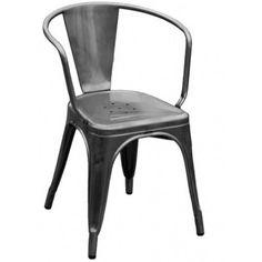 Fauteuil A56 (Modèle acier brut verni mat) - Marque: Tolix - Designer: J. Pauchard - Année: 1956