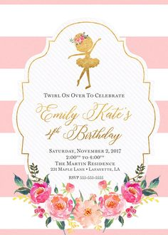 Ballerina Birthday Parties, Baby Girl First Birthday, Ballerina Party, 3rd Birthday Parties, Princess Birthday, Birthday Party Invitations, Ballerina Baby Showers, Birthday Banners, Construction Birthday Parties