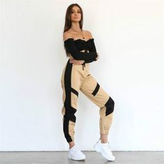 High Waist Cargo Pants Women Streetwear Sweatpants Joggers Loose Trousers Super Fast Delivery: 5 to 8 days Delivery to USA, UK, CA, & AU. Simple Outfits, Trendy Outfits, Cute Outfits, Fashion Outfits, Fashion 2018, 70s Outfits, Unique Outfits, Fashion Clothes, Fashion Trends