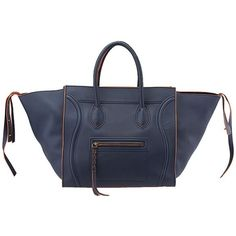 Pre-Owned Celine Phantom Large Navy Blue & Orange Trimmed Leather Tote ($2,185) ❤ liked on Polyvore featuring bags, handbags, tote bags, blue, celine purse, blue tote, celine tote, genuine leather handbags and colorful tote bags