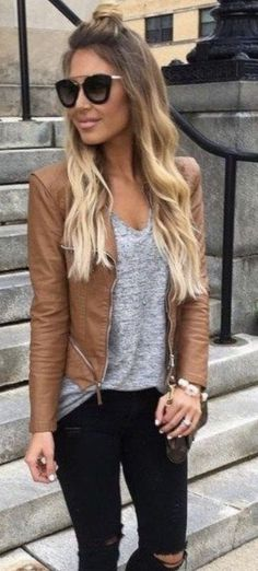 I've requested a moto jacket before. I would love to invest in a genuine leather jacket in a neutral color such as blush, taupe, or grey. And again with the distressed black denim! Love it. #womenclothingwinter