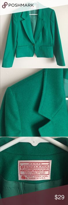 ✨FLASH SALE✨ Pendleton Petites Wool Blazer Beautiful Petite Pendleton 100% virgin wool blazer in size 10. Stunning jade green jewel tone color. Photos cannot do this color justice! Single button closure with spare button attached inside.  Pre-owned condition. Blazer is in amazing shape, but lining has come loose from bottom seam (see photos). Lining is intact, not ripped at all. Blazer is still functional and wearable. Otherwise this jacket is in perfect shape. No rips, no stains, no…