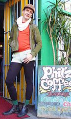 Jasper at Philz (Jasper Gregory) Tags: sanfrancisco california street new city portrait people urban usa cute sexy beauty fashion fun photography photo model san francisco pretty tights crossdressing transgender 2008 genderqueer january2008 jaspergregory