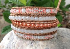 BraceletsForMe 5 Wrap Summer Beach Bracelet Natural Leather with White Crystals, Coral Glass Pearls & Coral and Pearl White Seed Beads
