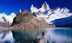 Hiker admiring Monte Fitz Roy from Laguna de los Tres.