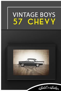 57 Chevy Print- Classic American Muscle car wall art, Vintage Charcoal 57 Chevy Bel Air Poster or Canvas Wall Art Vintage Canvas, Vintage Artwork, Vintage Walls, Art Studio Design, Wall Design, Wall Canvas, Canvas Art Prints, Minimalist Home Decor, Minimalist Room