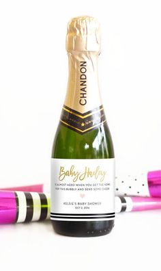 Baby Shower Mini Champagne Bottle Labels Pop the Bubbly When Baby Arrives! baby Shower Champagne Favors by LabelWithLove