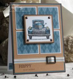 tecc35 Masculine Birthday Stamps: Classic Pickups, canvas, Verve Stamps So Happy, Happy Thoughts Paper: choc chip, blue bayou, creamy caramel, white, Designer Prints in Blue Bayou Ink: choc chip, copic markers Accessories: hodgepodge hardware, ribbon scrap, brads Read more: http://www.splitcoaststampers.com/gallery/photo/1068896#ixzz3xvZ2surz