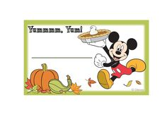 Mickey and Friends Thanksgiving Food Labels