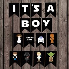 This listing is for a digital (you print) its a boy! and characters banner. each flag is approx 5x7 inches and there is two on each 8.5x11 inch