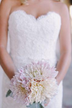 All dahlia wedding bouquet + lace wedding dress // San Juan Capistrano wedding by Brandon Kidd