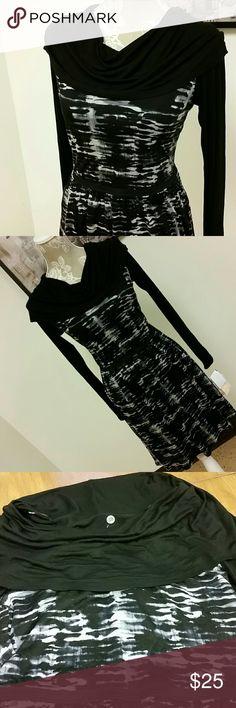 Kensie Jersey Dress Kensie size Medium 100% viscose lined jersey long sleeve casual dress. Elastic waist. Kensie Dresses Midi