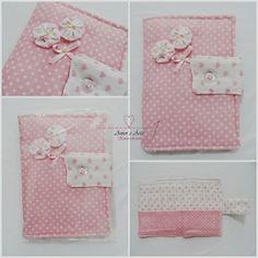 Carteira em Tecido DELICATA, Patchwork - Estampa Rosa e Branco, Poá