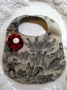 Timeless Toile Baby Bib with Red Flower on Etsy, $9.50