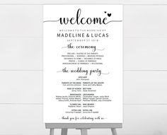 Purchase This Listing To Instantly Download Edit And Print Your Own - Wedding program sign template
