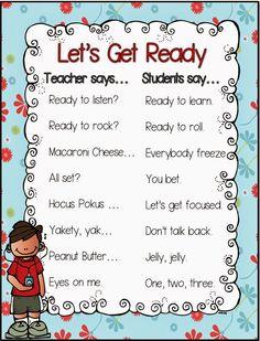 Celebration and Attention Chants! Celebration and Attention Chants! Classroom Cheers, Classroom Rules, Kindergarten Classroom, Classroom Ideas, Future Classroom, Classroom Routines, Kindergarten Songs, Preschool Songs, Preschool Learning