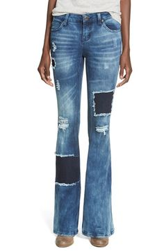 CELEBRITY PINK Ripped & Repaired Flare Jeans (One of a Kind) available at #Nordstrom