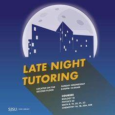 need some extra help with your studies but dont have enough time during the day the king library offers late night tutoring 8 pm to 12 am from sunday