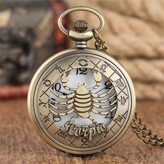 Taurus And Cancer, Sagittarius And Capricorn, Aquarius, Pocket Watch Necklace, Pocket Watch Antique, Zodiac Love, Bronze Pendant, Constellations, Quartz