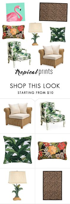 """Tropical Prints"" by camrynnmariee3 ❤ liked on Polyvore featuring interior, interiors, interior design, home, home decor, interior decorating, Pottery Barn, Improvements, Pacific Coast and tropicalprints"