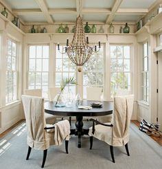 Coastal breakfast room -ceiling and cornice