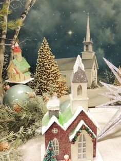 We have several light up wall canvases including the one with the church in the background.