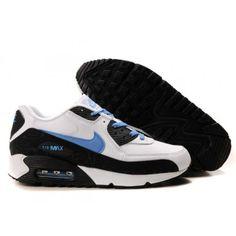 2d2320a9d488f Nike Air Max 1 White-Black Blue 325018 039 Blue Sneakers, Sneakers Nike,