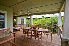 Dining and lounge lanai at Hale Yangkey in Hanalei.