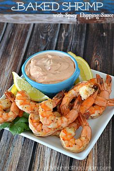 Serve this baked shrimp with spicy dipping sauce as a main course or an appetizer.  The shrimp is juicy and the sauce has just the right amount of kick.  Delicious!