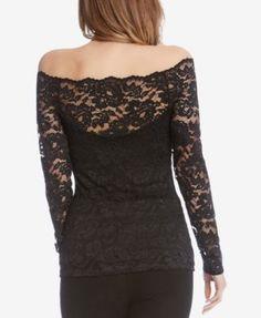 Karen Kane Lace Off-The-Shoulder Top - Black L