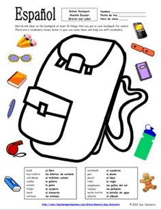 Spanish School Backpack Sketch and Label Activity / Class Objects by Sue Summers