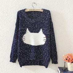 $21.00   Cute little cat loose sweater  T98192