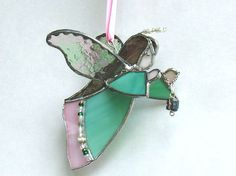 Angel in green and pink stained glass 3D suncatcher gift for