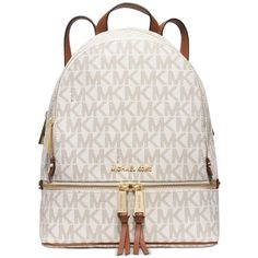 Michael Michael Kors Rhea Zip Medium Backpack ($298) ❤ liked on Polyvore featuring bags, backpacks, vanilla signature, michael kors bags, tablet bag, white bag, travel rucksack and zipper backpack