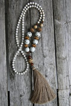 Long Tassel Necklace with Mixed Gemstones and by NORDeastHOME